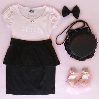 top pink rose shoes skirt cute dress t-shirt flowers bow bag