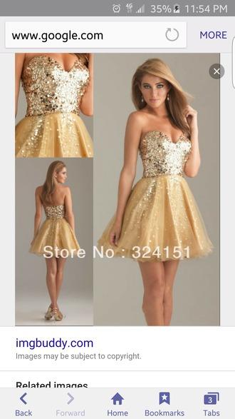 dress gold short homecoming sweatheart