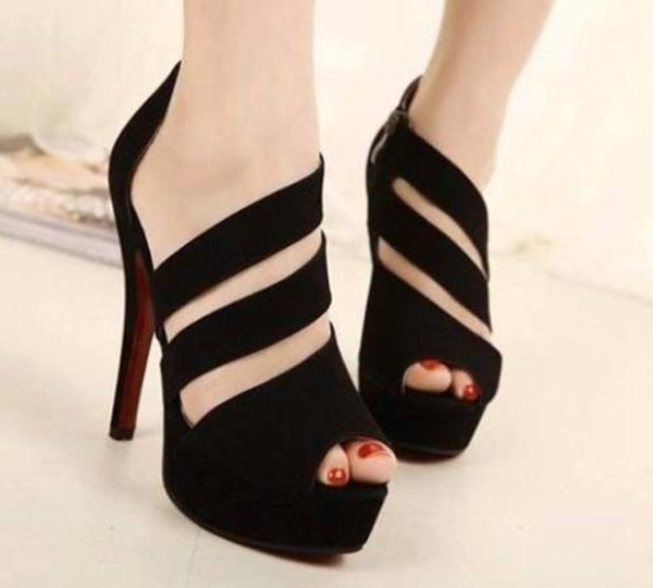 shoes black high heels swag