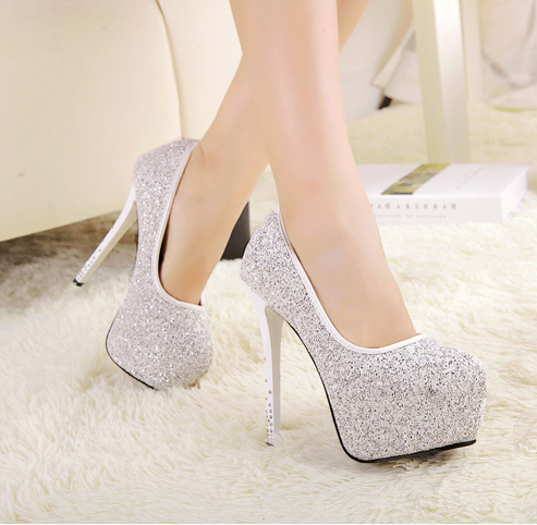 Drop shipping sparking ultra high heels 14cm sexy thin heels shoes shiny stiletto shoes ladies high platform pumps drop shipping-inPumps from Shoes on Aliexpress.com