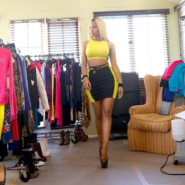 skirt black yellow black and yellow swag hot nicki minaj