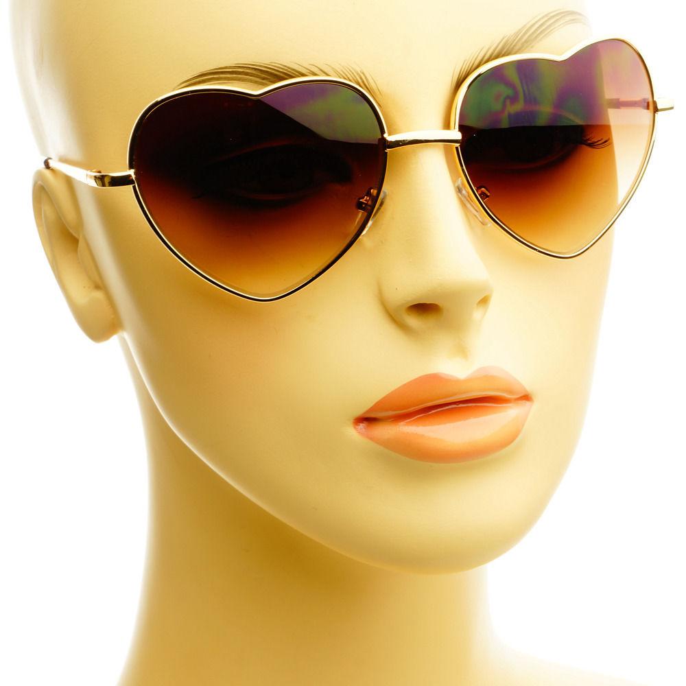 Trendy Heart Shaped Gold Metal Retro Vintage Fashion Womens Sunglasses Shades   eBay