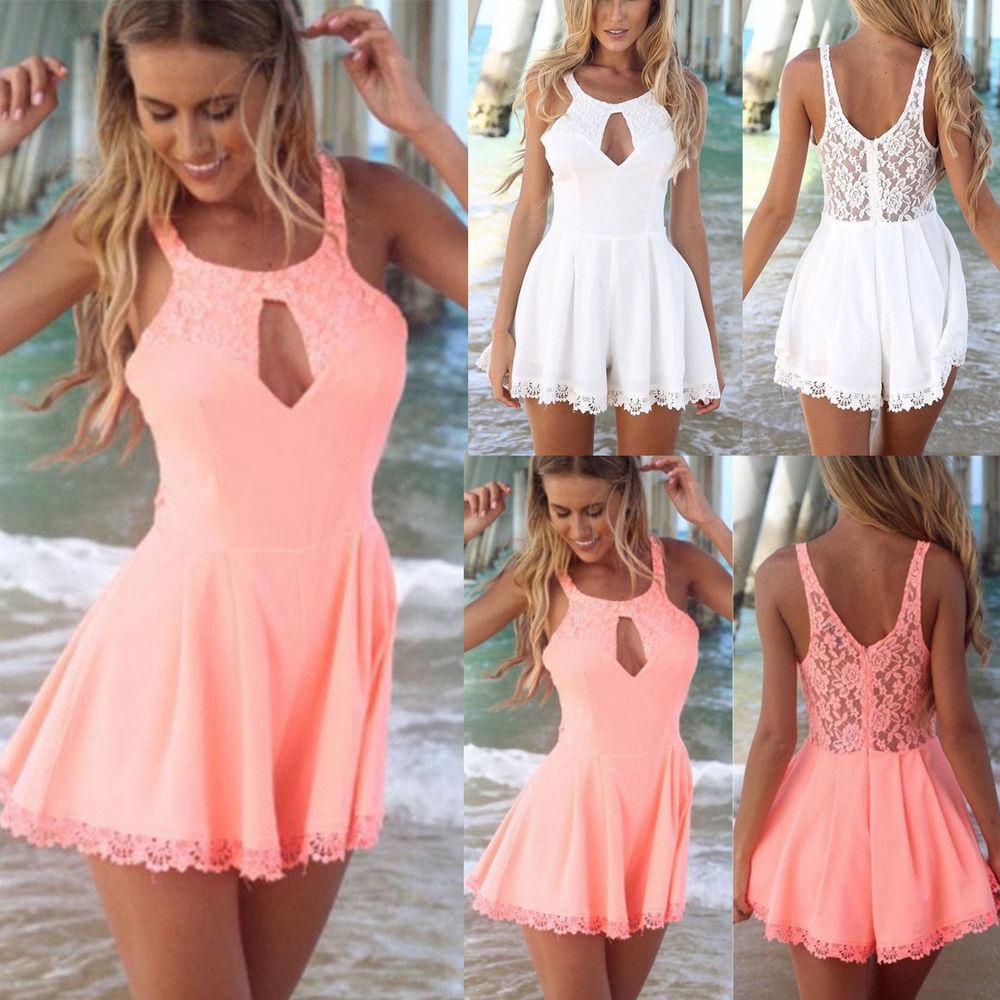 2014 Women Celeb Lace Playsuit Party Evening Summer Ladies Dress Jumpsuit Shorts | eBay