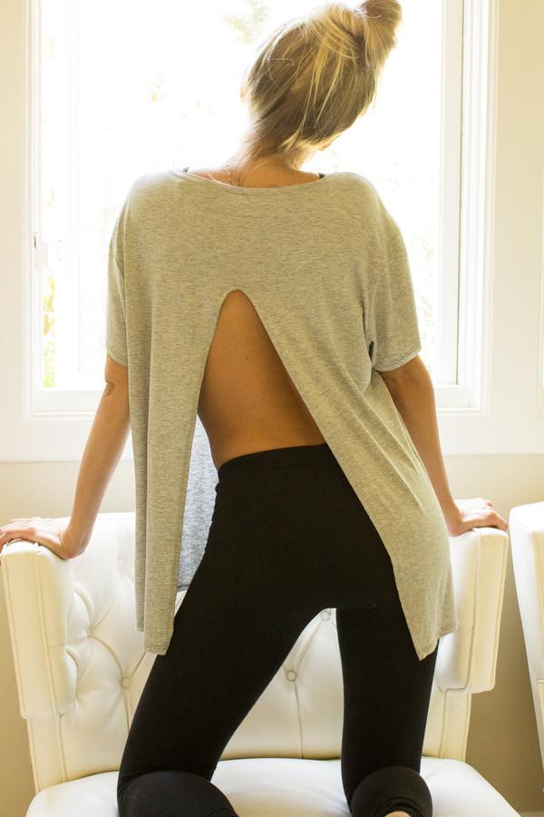 top swing t-shirt workout yoga heather grey