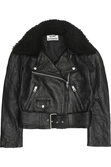 Acne|Mape shearling-collar leather biker jacket|NET-A-PORTER.COM