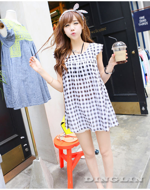 New 2013 Women Girl's Cap Sleeve Plaid Checks Print Linen Casual One Piece Cute Mini Dress Clothing Size S Free Shipping 0923-in Dresses from Apparel & Accessories on Aliexpress.com