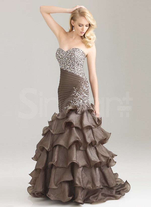dress mermaid/trumpet silhouette floor length with beadings
