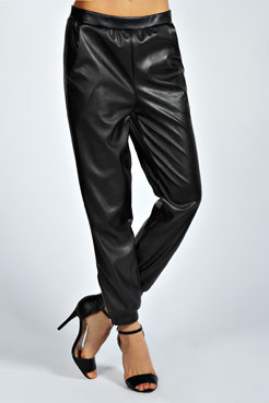 Kaylie Relaxed Fit PU Joggers at boohoo.com