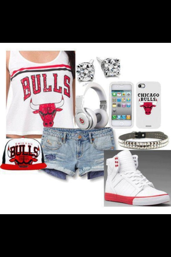 hat chicago bulls snapback earrings tank top iphone case jewels shorts sneakers white red shoes