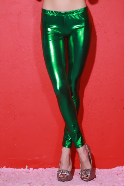 GREEN METALLIC LAME SKINNY PANT LEGGING TIGHTS / Sexy Clubwear | Party Dresses | Sexy Shoes | Womens Shoes and Clothing | AMI CLubwear