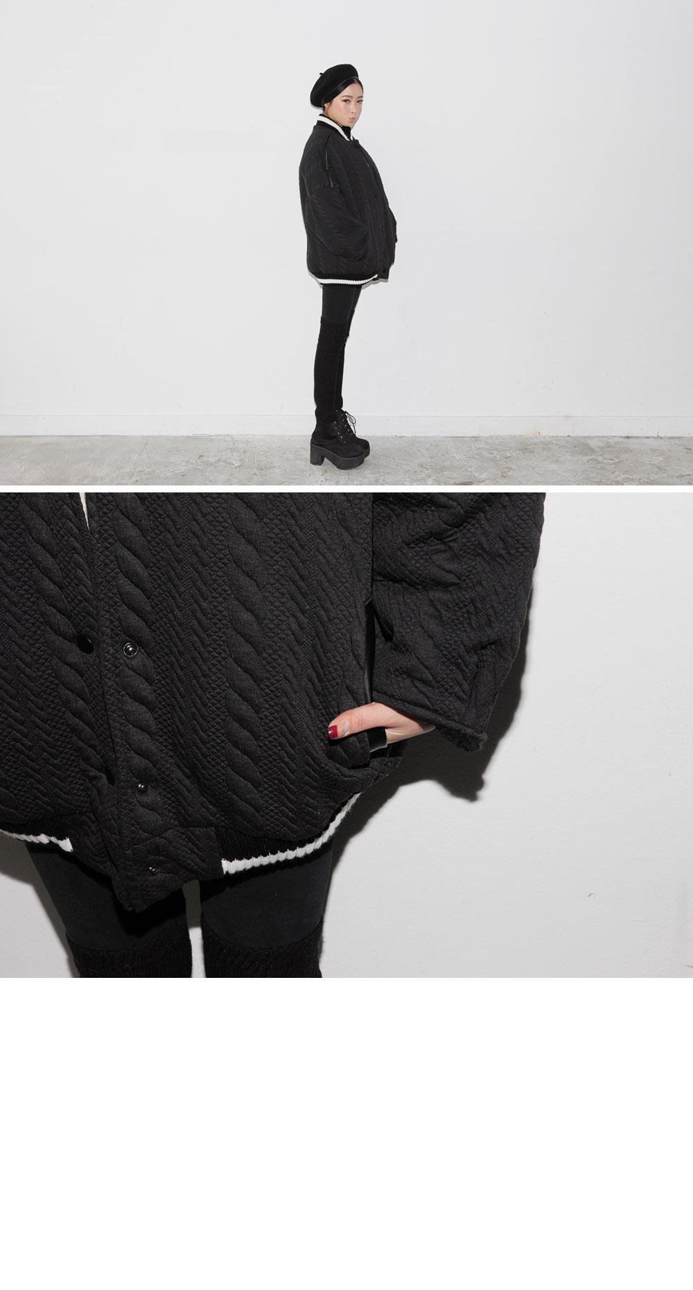 Cable Textured Baseball Jacket