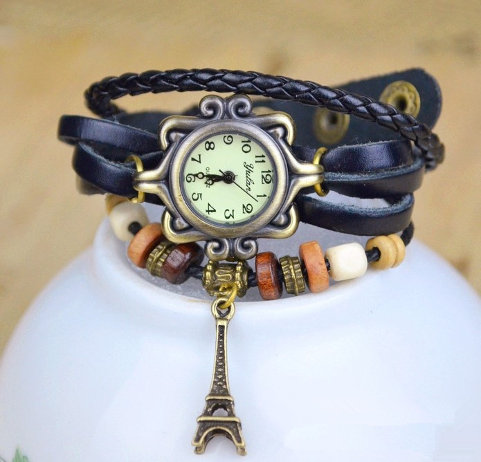 New Arrivals High Quality Women Genuine Leather Vintage Watch,Eiffel Tower Pendant Bracelet Watches,Free Shipping Dropshipping on Aliexpress.com