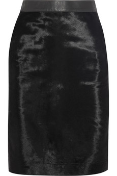 Iris & Ink Calf hair-paneled leather skirt - Exclusively for THE OUTNET