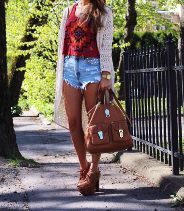 shirt tribal pattern bag shorts shoes sweater jewels
