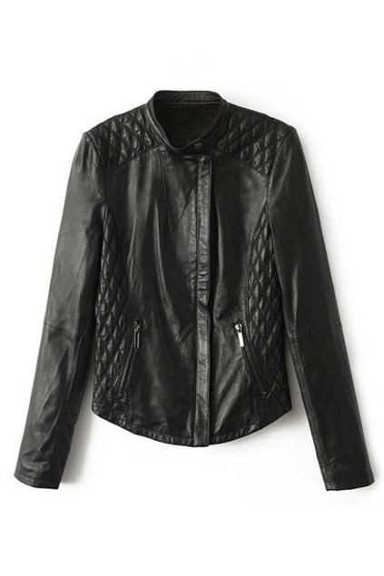 ROMWE   ROMWE Asymmetric Diamond Pattern Zippered Black Jacket, The Latest Street Fashion
