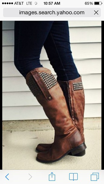 shoes brown boots with studs