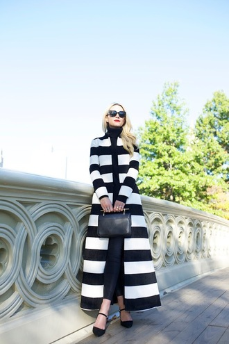 atlantic pacific blogger striped coat long coat coat stripes big pattern printed long coat