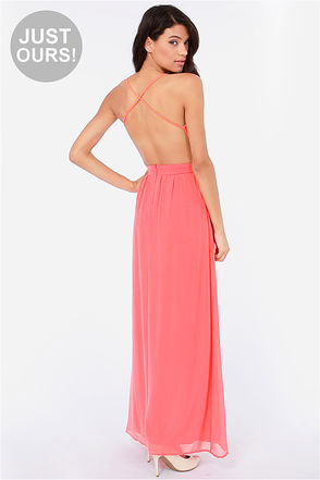 Sexy Backless Dress - Coral Dress - Maxi Dress - $49.00