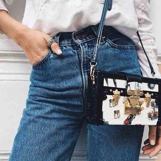 jeans denim vintage retro blue navy high waist waisted tumblr teenagers grunge cute cool summer spring fall outfits winter outfits urban button belt feature fashion style bag
