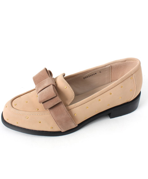 Studs Bow Loafers - RANDA