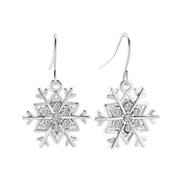 Clear White Rhinestone Crystal Sparkling Snowflake Fish Hook... - Polyvore