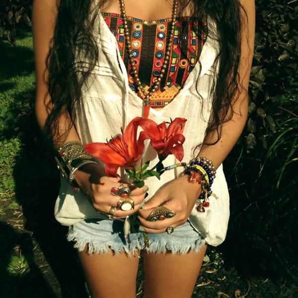 shirt bandeau hippie bohemian jewels tribal pattern bandeau bikini tank top