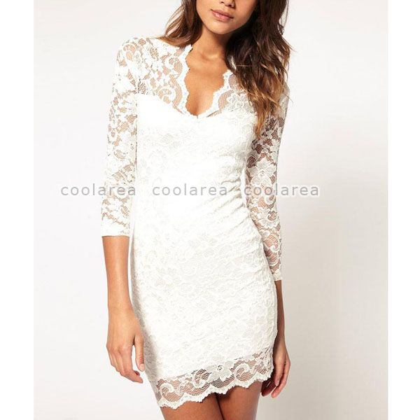 Women Sexy Lace Sheer V Neck 3 4 Sleeve Slim Party Mini Dress OL Casual Clubwear | eBay