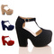Ladies womens demi wedge platform mary jane tbar high heel court shoes size 3-8