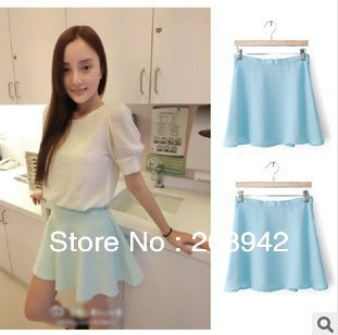 Wholesale and retail women light blue casual solid color pleated skirt free shipping-in Skirts from Apparel & Accessories on Aliexpress.com