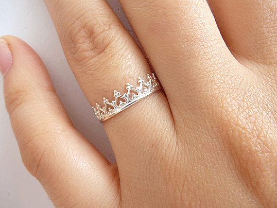 Sterling Silver Crown Ring  Princess Crown Ring  by ArizJewels