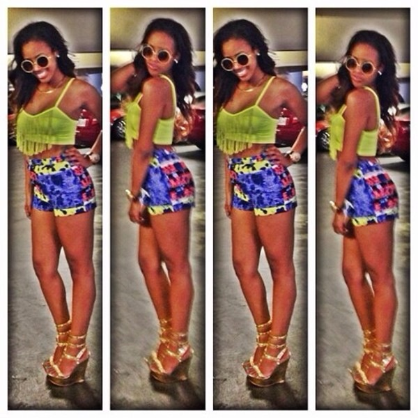 blouse crop tops neon shoes shorts sunglasses