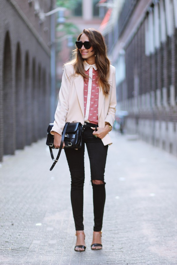 preppy fashionist sunglasses blouse jacket shoes bag pants