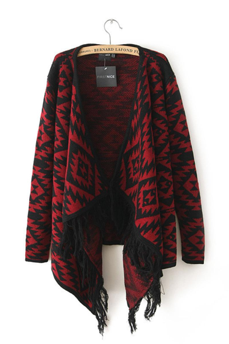 2013 Autumn & Winter New Section Irregular Hem Geometric Pattern Knitted Sweater,Cheap in Wendybox.com