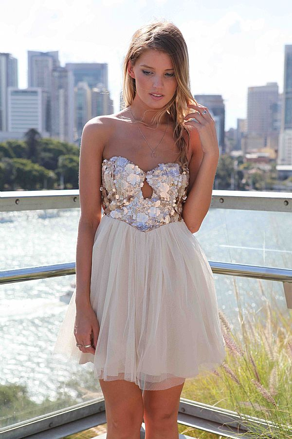 Off-white Party Dress - Strapless Dress with Sequin Bodice | UsTrendy
