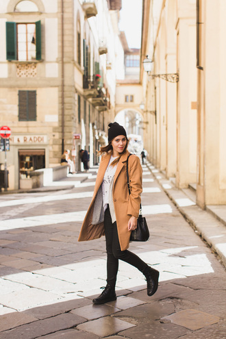 wish wish wish blogger hat coat t-shirt jeans shoes bag