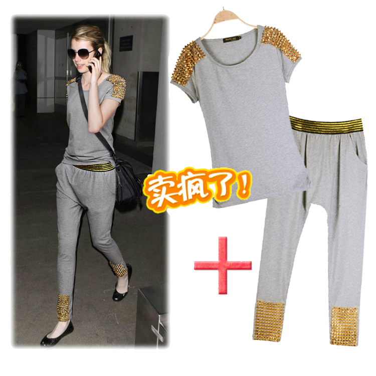 2013 summer women's rivet short sleeve T shirt harem pants fashionable casual set-inWomen from Apparel & Accessories on Aliexpress.com