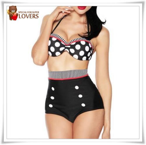 Good quality Cutest Retro Swimsuit Swimwear Vintage Pin Up High Waist Bikini Set Size S/M/L/XL New arrive-in Bikinis Set from Apparel & Accessories on Aliexpress.com