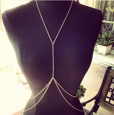 Gold Body Chain Body Piece Belly Chain Jewelry Harness Necklace Simple - Belly Chains
