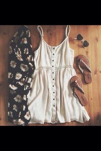 daisy kimono white dress sandales blouse cardigan