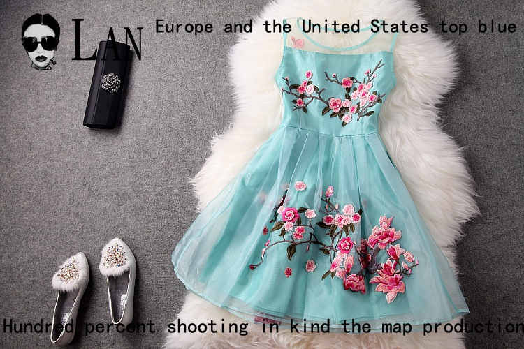 2014 spring women's dresses organza gauze 3d flower embroidered ball gown fashion event luxury brand dress cocktail dress T1315 on Aliexpress.com