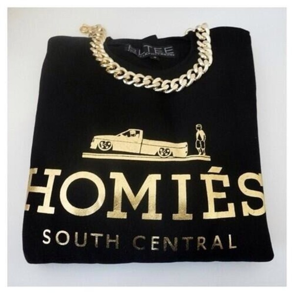 sweater black gold homies