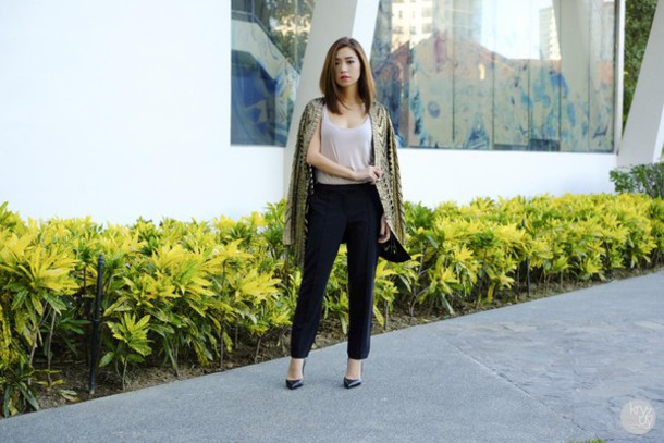 kryzuy blogger cardigan pants office outfits shoes