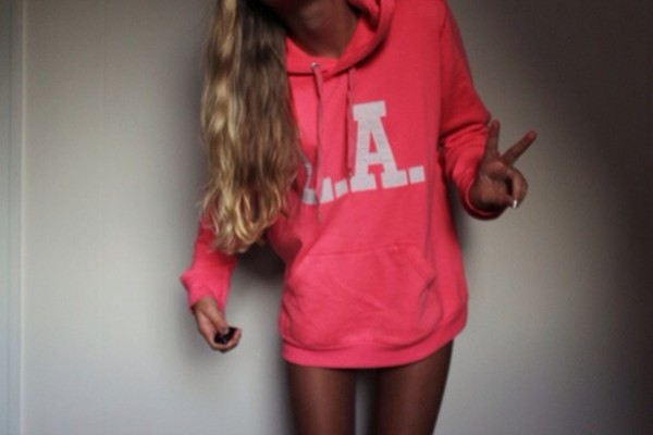 sweater los angeles l.a. hoodie sweatshirt pink sweater