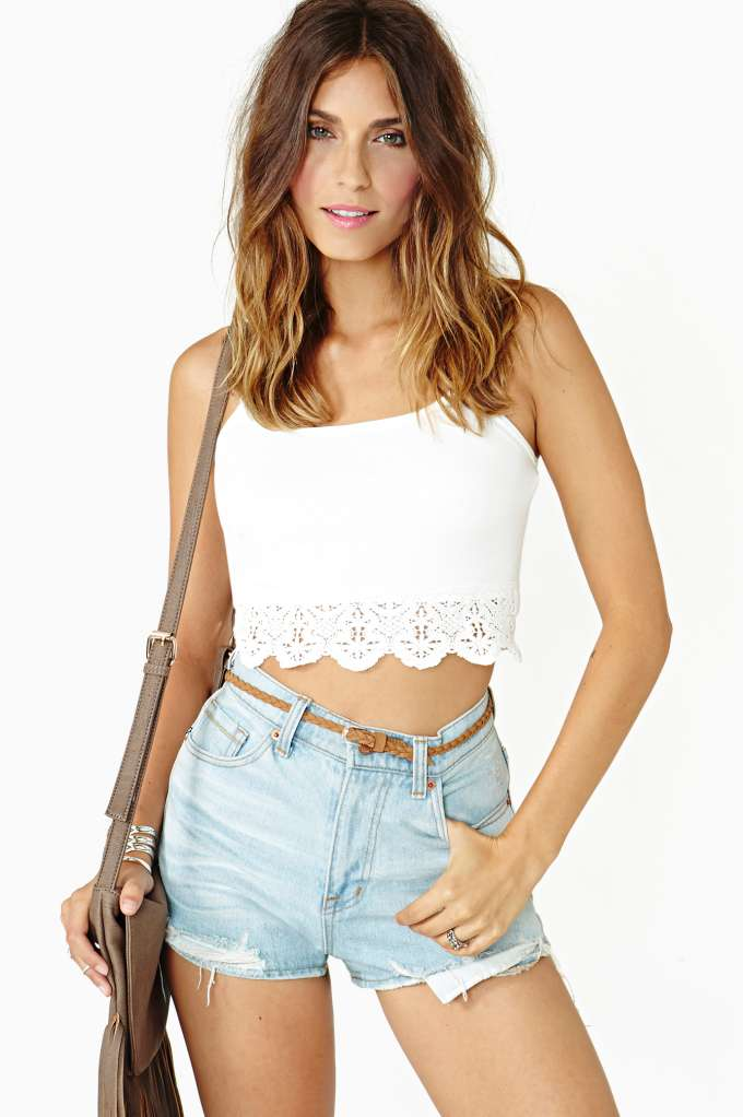 Gemini Lace Crop Tank - Ivory in  Clothes Tops Cropped at Nasty Gal