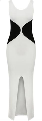 Shelly Two Tone Black & White Slimming Color Block Slit Maxi Dress | RawGlitter.com