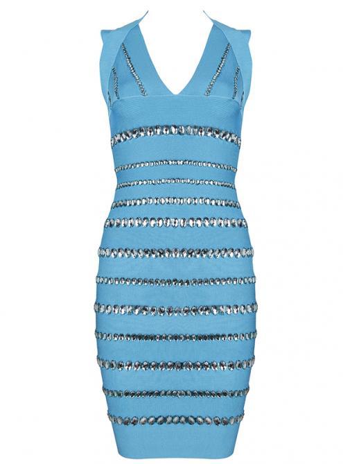 Blue Diamante Embellished Bandage Dress H355B$159