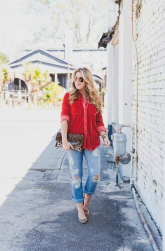 januaryhart blogger blouse bag jewels shoes sunglasses red shirt shirt clutch animal print animal print bag