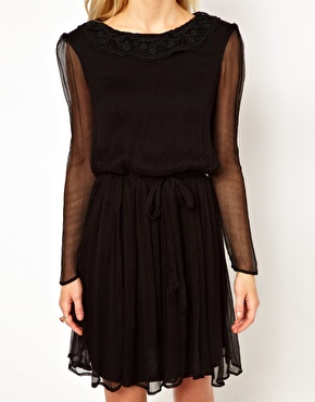 Traffic People | Traffic People Silk Dress With Lace Collar at ASOS