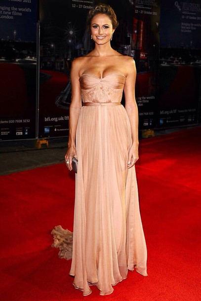 dress nude silk strapless pleated gathered floorlength glamour special occasion special occasion dress