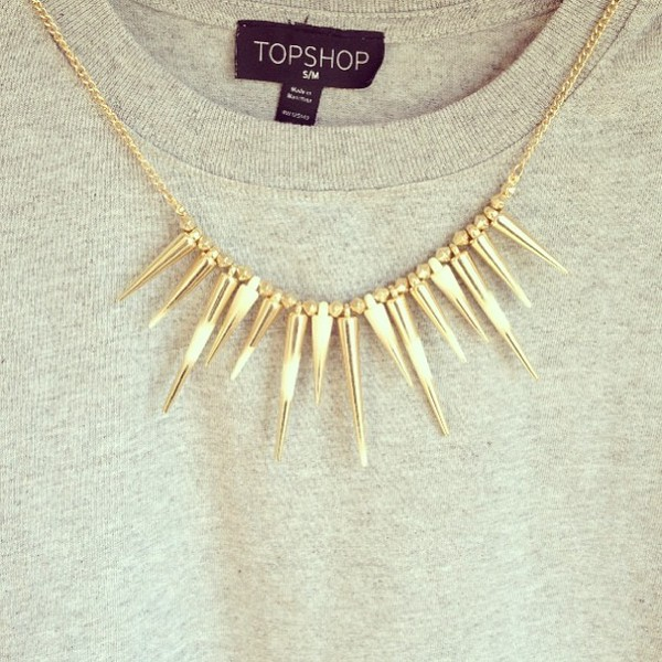 jewels necklace gold spike spikes stud studs hipster indie jewelry jewelry statement necklace